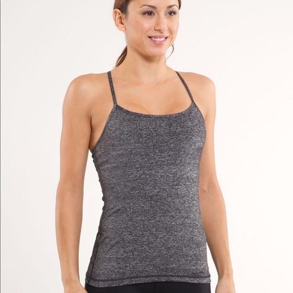 341ad1c5924c7 lululemon athletica Tops - Lululemon Power Y Tank in Heathered Black